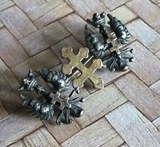 Cross of Lorraine Pin Brooch Antique French Solid Silver 800