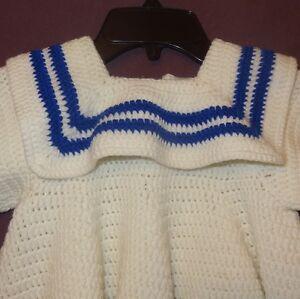 Dress Crochet Sailor Nautical Handmade. 18 - 24 months 2T White Blue Girls