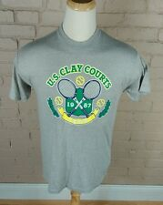 Vintage USA Clay Courts Indianpolis Indy 80s Tennis T Shirt 1987 Medium Gray