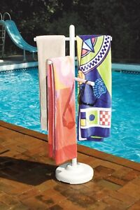 Beach Towel Rack Spa Poolside Holder Swimming Drying Stand Tree White Outdoor