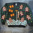 Hand Craft HO HO HO Light Up Black Ugly Christmas Sweater Striper Funny Men Sz L