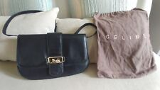 Auth CELINE Logos Horse Carriage Shoulder Bag  Leather Vintage Italy