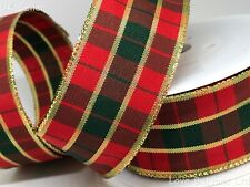LUXURY 40mm WIDE WIRED RED GREEN AND GOLD TARTAN CHRISTMAS RIBBON 1m LENGTHS