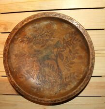 Antique hand made pyrography wood bowl