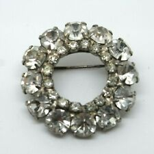 Vintage Pin / Badge Sparkly Clear Rhinsetone Brooch -