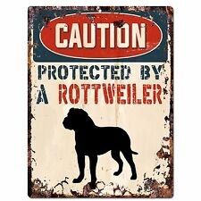 PP2078 CAUTION PROTECTED BY A ROTTWEILER Plate Chic Sign Home Store Door Decor