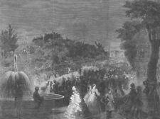 PARIS. Fetes. Arc de Triomphe, Champs Elysees, antique print, 1861
