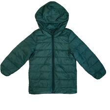 Old Navy Kids Light Puffy Jacket 5T Dark Green Dinosaur Hood Full Zip Up
