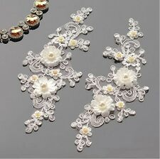 Ivory Floral Corded Bridal Lace Applique Beaded Corded Trim Wedding Dress Motifs