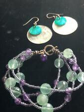 Amethyst Bracelet & Earring Set Mod Sterling 4 Strand Seafoam Green Glass Bead
