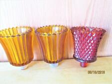 3 Vintage Home Decor Red Diamond Cut & Amber Ribbed Glass Votive Candle Holders