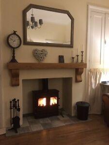 Fireplace Shelf with Corbels, Solid Oak Beam, Oak Lintel, Rustic Oak Wood Mantle