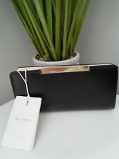 Ted Baker Metal Bar Zip Round Leather Matinee Purse Black Rosaria