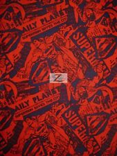 SUPERMAN/DC COMICS PRINT COTTON FABRIC - Comic News Strip Red - C513 CLARK KENT