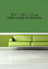 Wish Hope Dream Vinyl Wall Quote Decal Sticker