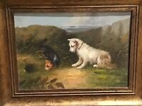 ANTIQUE... OIL ON BOARD...In the Manner of George Armfield. TERRIERS