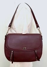 Michael Kors Evie Convertible Pebble Leather Shoulder Bag in OXBlood Red
