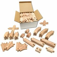 Tiny Conductors 52 Piece Wooden Train Track Set - 100% Real Wood, Compatible ...