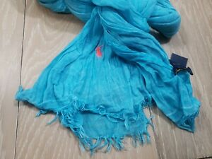 NWT Polo Ralph Lauren Hand Detailed Blue Dyed Scarf NEW - MSRP $48