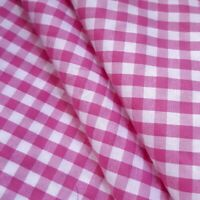 "1/4"" PINK GINHAM PRINT POLY COTTON FABRIC PINK WHITE CHECK 58"" BY THE YARD"