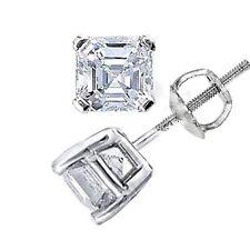 1.00 Ct. square emerald cut , Asscher Cut Diamond Stud Earrings All Natural