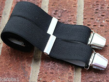 Para Hombre Pantalones Tirantes Ancho Negro Elástico Ajustable 35mm 4 Heavy Duty Broches
