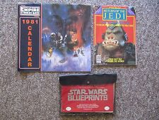 1977-1983 Star Wars Items:Trilogy Bed Sheet, Blueprints, figures, Calendar, etc