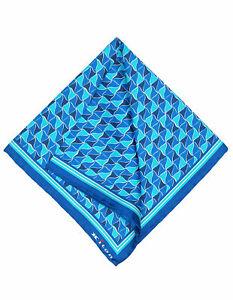 Kiton Handkerchief IN Blue with Blue - Dark Turquoise Pattern