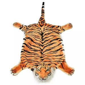 Plush Tiger Carpet Realistic Animal Shaped Soft Floor Mat Home Bedroom Decor
