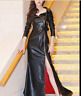 Biker Sexy Womens Leather Lapel Collar Slim Long Overcoat Coat Belt Dress NEW