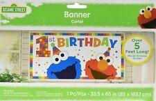 SESAME STREET Elmo Turns One Wall Decoration Banner First Birthday Party Supplie