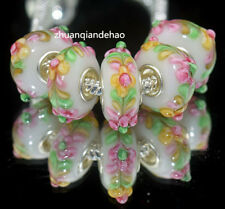 5pcs MURANO Lampwork charm Beads fit 925 silver European Bracelet Chain a1128