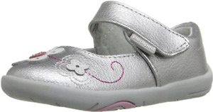 pediped Grip-N-Go Girls Lorraine Mary Jane Silver Shoes Toddler Size US 7/ EU 23