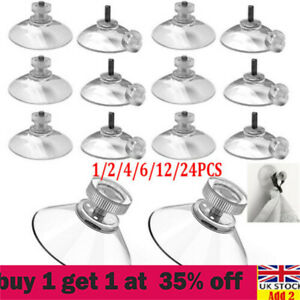 1-24pcs 40mm Thumb Screw Clear Suction Cups White Nut Rubber Window Suckers sx