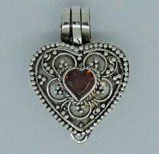 HEART LOCKET PHOTO BOX Garnet Gemstone Pendant in 925 Sterling Silver (New) #I1