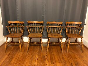 Set 4 Vintage Ethan Allen Comb Back Side Chairs Nutmeg Maple &Birch 10-6040 1498