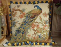 """16"""" Hand Crafted Peacock Facing Right Floral Tree Needlepoint Throw Pillow"""