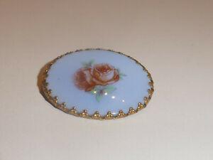 Brosche Anstecknadel Messing oval Rosenmotiv Stein oder Porzellan