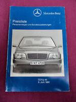Mercedes Preisliste 3.6.1991 W201 124 140 R129 126 limo coupe T Modell Roadster