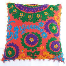 Suzani Cushion Covers Pillow 2 Indian Rangoli Patterns Embroidery Cotton Canvas
