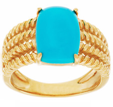 SLEEPING BEAUTY TURQUOISE ROPE DESIGN 14K GOLD-PLATED STERLING RING SIZE 9 QVC