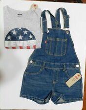 Boys Levi's Shorts Overalls Plus T-Shirt Blue Denim Size SMALL (7/8) NEW
