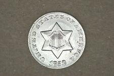 1852 Three Cent Silver- Nice AU/BU   Strong Luster - From Local Auction