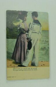 Antique Postcard Couple Man Woman Funny Comical Old Antique Post Card People B6