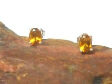 CITRINE  Sterling Silver 925 Gemstone Earrings / STUDS - 5 x 7 mm - Gift Boxed