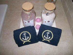 Navy blue 2 piece hand towels  with embroidered anchor