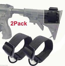 2Pcs Universal Rifle Gun Shotgun Stock Single Point Sling Loop Adapter Strap