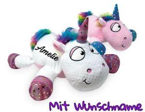 Einhorn mit Name Personalisiert Plüschtier Wunschname Geschenk Unicorn weiß rosa