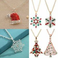 Christmas Tree Diamond Pendant Necklace Women Clavicle Chain Xmas Jewelry Gifts