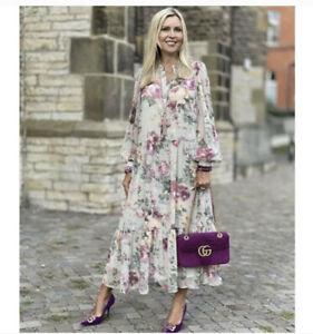 H&M Floral Chiffon Balloon Puff Sleeve Dress, Size M, NWT! * BLOGGER FAVORITE*